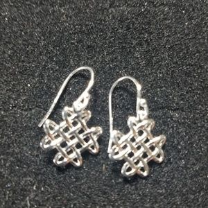 Sterling silver Celtic weave earrings.